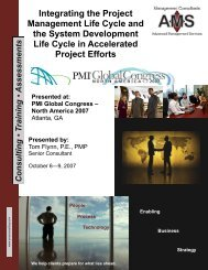 Integrating the Project Management Life Cycle and the - Advanced ...