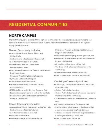 Residential Communities - Department of Resident Life - University ...