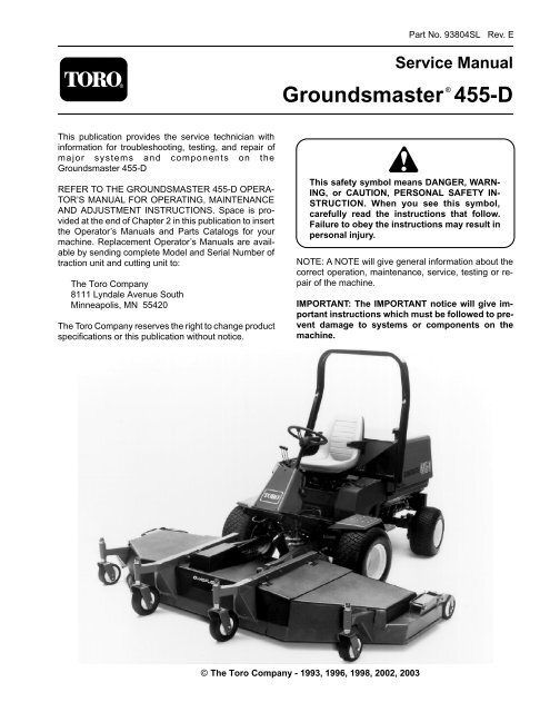 Groundsmaster® 455-D - Toro