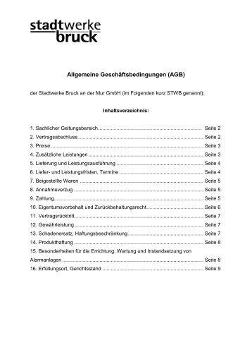 Allgemeine Geschäftsbedingungen - Stadtwerke Bruck an der Mur