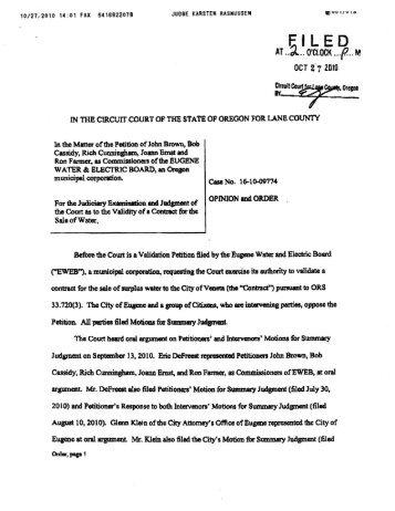 Validation petition opinion from Judge Karsten Rasmussen
