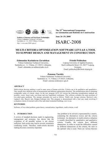 MULTI-CRITERIA OPTIMIZATION SOFTWARE LEVI-4.0 A ... - IAARC