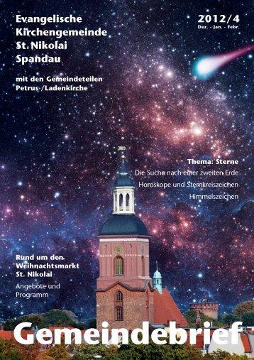 Gemeindebrief Nr. 4 2012 (Winter) - St. Nikolai Spandau Homepage