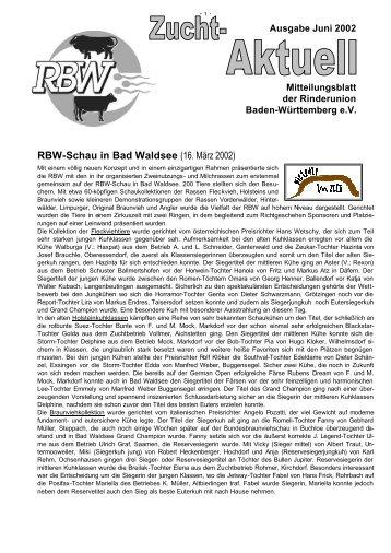 RBW-Schau in Bad Waldsee - Rinderunion Baden-Württemberg e.V.