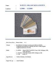 M-PLUS HK-SOCKELLEISTEN 1/2008 - 12/2008 - Farben Schultze