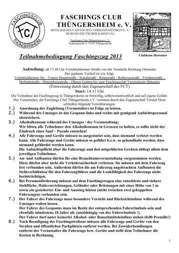 Anmeldung FCT-Faschingszug - Faschingsclub Thüngersheim