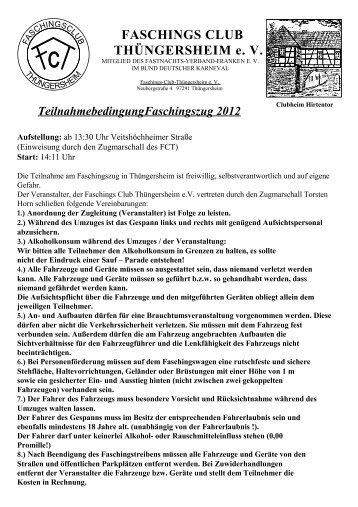 Anmeldung Faschingsumzug 2012 - Faschingsclub  Thüngersheim