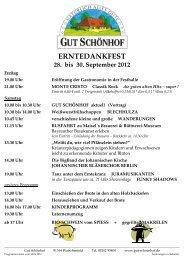ERNTEDANKFEST 28. bis 30. September 2012 - Gut Schönhof
