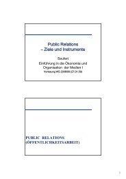 Public Relations – Ziele und Instrumente