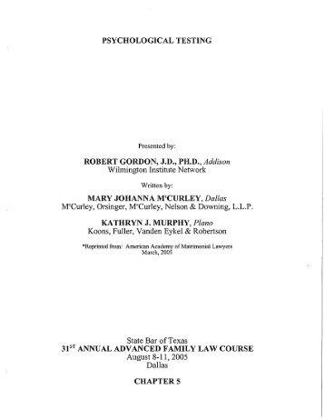 PSYCHOLOGICAL TESTING CHAPTER 5 - McCurley Orsinger ...