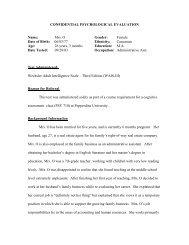 WAIS-III Report 1 - Meet the Faculty - Pepperdine University