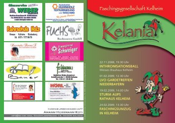Flyer - Kelania Faschingsgesellschaft in Kelheim