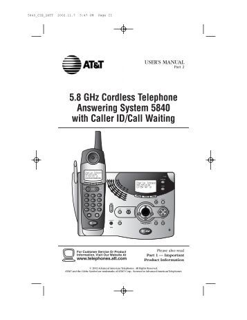 model 27831 series 2 4 ghz cordless telephone system user. Black Bedroom Furniture Sets. Home Design Ideas
