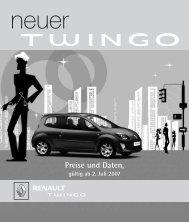 Preise und Daten, gültig ab 2. Juli 2007 - bei Renault Liesing!