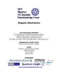 Event brochure - MIT · Stanford · Berkeley Nanotechnology Forum