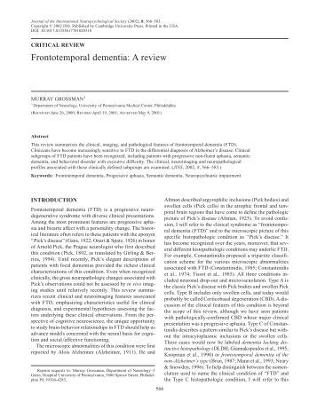 Frontotemporal dementia: A review - University of Pennsylvania