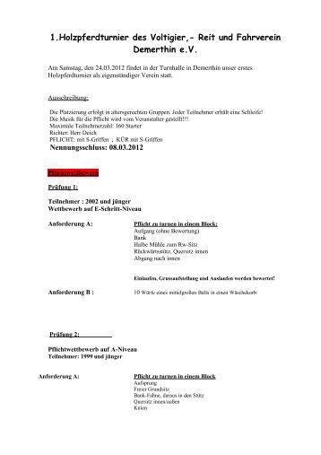 1.Holzpferdturnier des Voltigier,- Reit und Fahrverein Demerthin e.V.