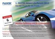 Herzliche Einladung zum Anwenderforum - Fastec GmbH