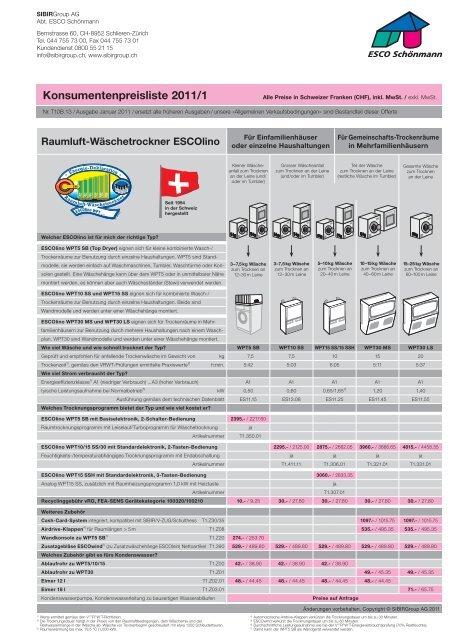 Konsumentenpreisliste 2011/1 - Sibir