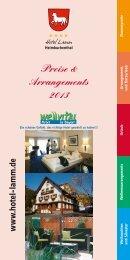 Preise & Arrangements 2013 [563 KB] - Hotel Lamm