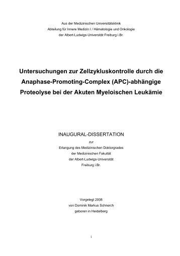Untersuchungen zur Zellzykluskontrolle durch die Anaphase ...