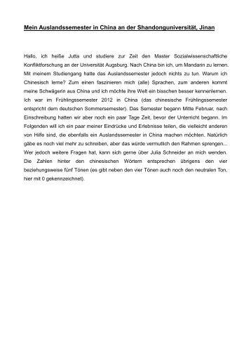 Mein Auslandssemester in China - Universität Augsburg