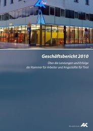 Geschäftsbericht 2010 - AK - Tirol