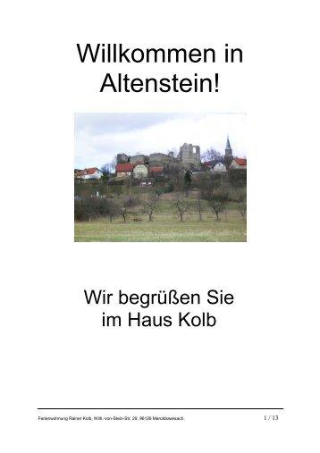 Willkommen in Altenstein! - Altenstein/Haßberge