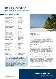 Urlaubs-Checkliste zum Download (pdf, 240 kB) - Raiffeisen