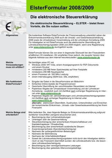 Neue ELSTER-CD für die elektronische Steuererklärung bei den ...
