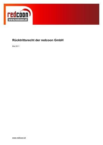 Rücktrittsrecht der redcoon GmbH