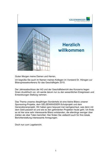 Vortrag Zur Bilanzpressekonferenz Von Dr Gelsenwasser Ag