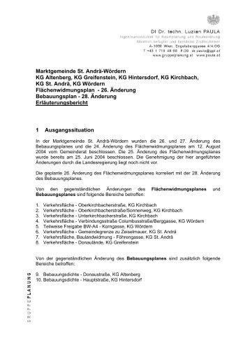 Erläuterungsbericht zu den geplanten Änderungen
