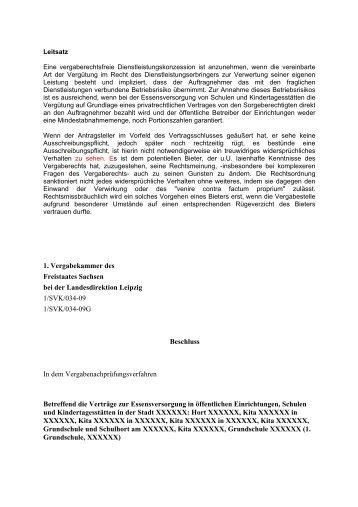 1. Vergabekammer des Freistaates Sachsen bei der ...