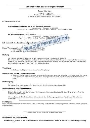 muster franz vvn - Anderungsvertrag Muster
