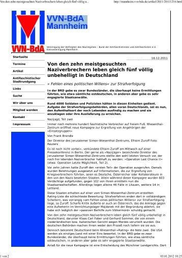 Rezension VVNBdA, 16.12.2011 - Der Prospero Verlag