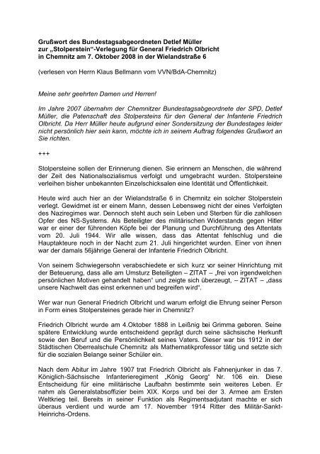 Stolperstein Rede Olbricht 07102008 Pdf Detlef Müller