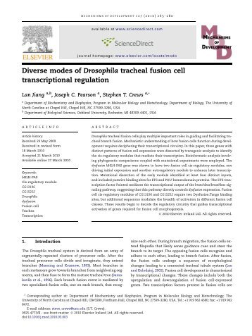 Diverse modes of Drosophila tracheal fusion cell transcriptional ...