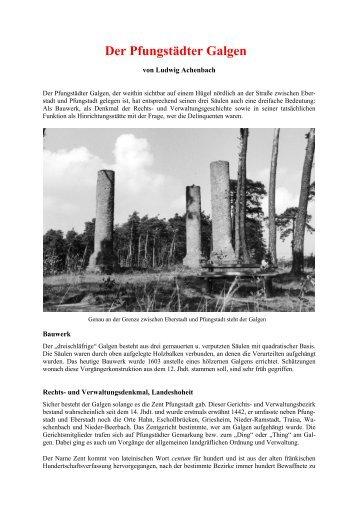 Der Pfungstädter Galgen - Geschichtsverein Eberstadt - Frankenstein