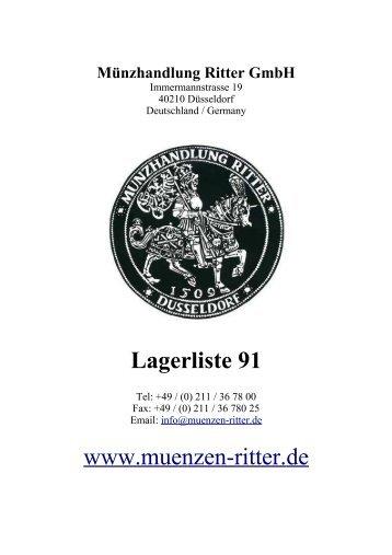 Lagerliste 91 - 91 - Münzhandlung Ritter GmbH