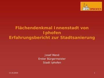 Flächendenkmal Innenstadt von Iphofen Erfahrungsbericht zur ...