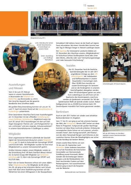 Geschäftsbericht 2011 - VR Bank Steinlach-Wiesaz-Härten eG