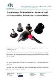 Hochfrequenz Motorspindeln – Vorsatzspindel - ts-Technologie