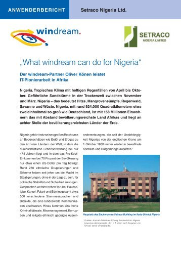 Setraco Nigeria Ltd. ANWENDERbERIcHT - Windream GmbH