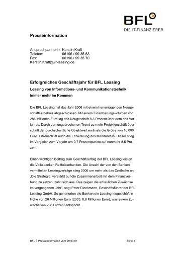 Erfolgreiches Jahr für BFL Leasing - BFL Leasing GmbH