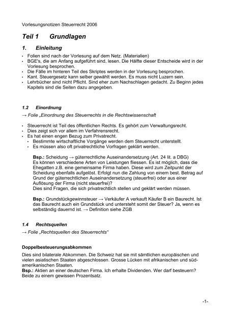 Steuerrecht Zusammenfassung Studentische Organisationen Uni
