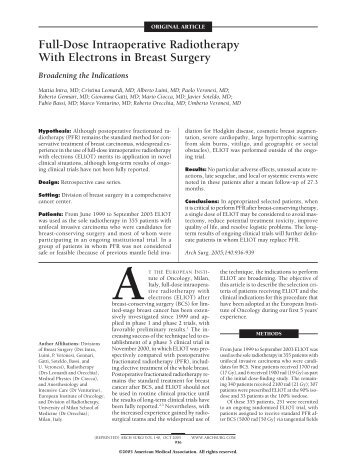 Full-Dose IORT With Electrons in Breast Surgery - IntraOp Medical