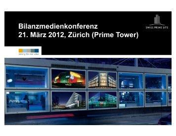 Präsentation Jahresergebnis per 31.12.2011 - Swiss Prime Site