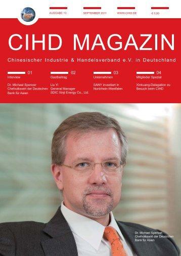 CIHD Magazin 13 9/2011 - Chinesischer Industrie- und ...