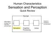 Human Characteristics Sensation and Perception